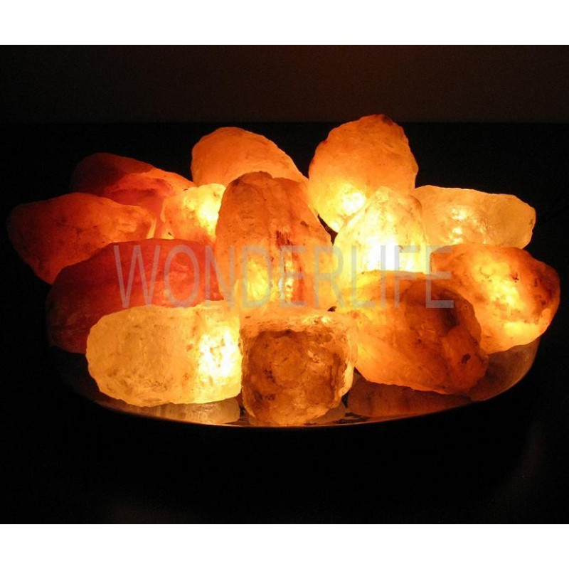 "Соляная лампа ""Огненная Чаша"" из 15 камней, на блюде"